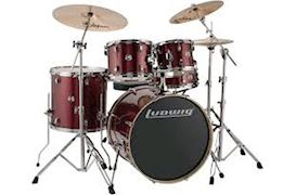"LUDWIG - LCEE22025 ELEMENT EVOLUTION DRUMSET 22""+HW RED WINE SPARKLE"